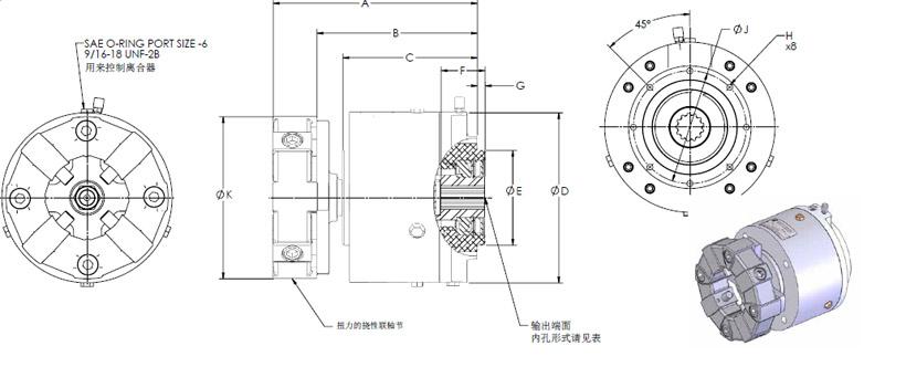 特征:   气动式或液压式   最大传扭(1559lb.ft),更高的接合转速(1800rpm)   外形减淡、结构紧凑的Logan产品适用于工作船、渔船及游船。   整体式弯扭耦合   有助于降低排放油耗及辅机的磨损。   最高接合转速1800rpm,可选软启。   多中附件控制包可选以适应各种工况。   安装简易   专门设计的安装支座有助于精准的校中。  气/液驱动的取力口离合器 SPF1000说明书